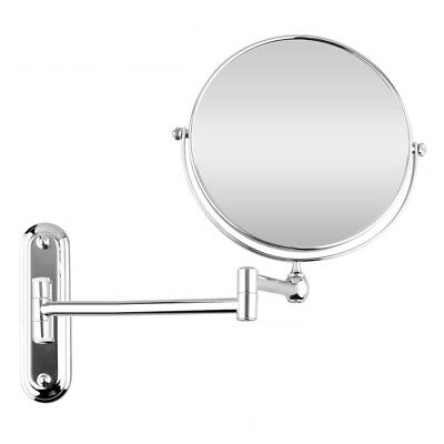 """10X(Silver Extending 8"""" cosmetic wall mounted make up mirror 5xMagnification I6Z"""