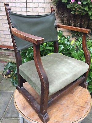 Unusual Small Antique Oak Framed Leather Smoking Chair Vintage Seating