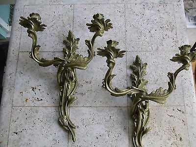 1 Pair Brass Antique French Louis Xv Rococo/regency 2 Candle Sconces Glo-Mar