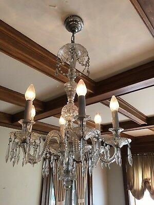 Baccarat Quality Mid Century Cut Crystal 6 Light Entry Dinning Room Chandelier