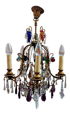 Antique Vintage French Crystal Directoire Fruit Grapes Chandelier 6 Light