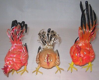 3 Decorative Wire Chickens And Roosters