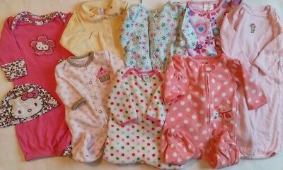 9 Lot of Baby Girl NB-3 Month Pajamas Winter Cotton Fleece PJ's Sleepers Clothes