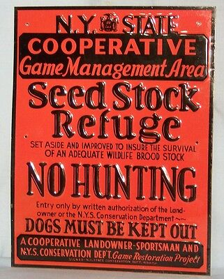 NY State Game Management Area NO HUNTING Sign - NOS