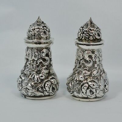 "Repousse Sterling Silver Stieff Salt & Pepper Shakers 2 5/8"" Tall Date Mark 1933"