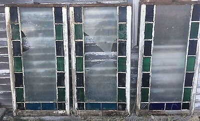 3 Stained Glass Old Church Windows - Salvage