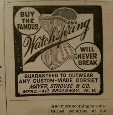1889 Mayer Strauss & Company women's watchspring corset fashion ad
