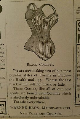 1890 Warner Brothers  Bros women's black corsets vintage fashion ad