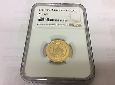 Iran, Persia, Islamic Republic, Azadi, Sh 1358 Gold Coin ,ngc, Ms 66, Rare