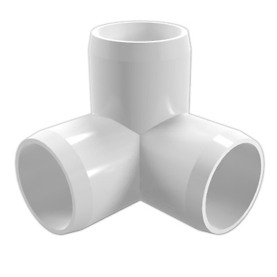 """FORMUFIT F0343WE-WH-8 3-Way Elbow PVC Fitting, Furniture Grade, 3/4"""" Size, White"""