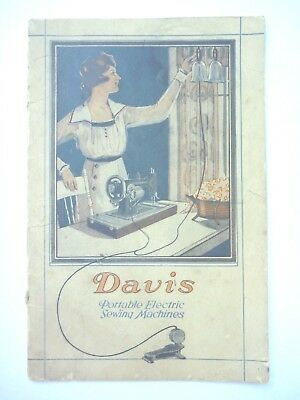 1918 Davis Portable Electric Sewing Machines Brochure Pamphlet Illustrated Rare