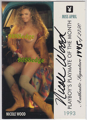 "1995 Playboy Playmate Authentic Auto: Nicole Wood #/2750 Autograph ""miss April"""