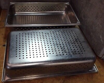 "2 Full Siza Perforated Stainless Steel Steam Table Pans 4"" Deep"