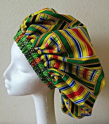 New Handmade Multi-Coloured African Kente Lined Sleep/Lounge Caps