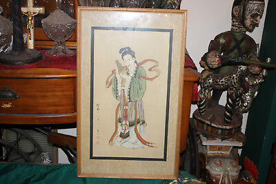 Antique Japanese Painting Geisha Girl Playing Instrument-Signed Stamped Asian