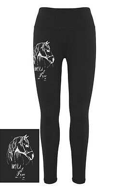 """**heels Down Clothing** Equestrian Performance Tights..""""wild And Free"""" Print"""