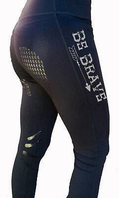"""**heels Down Clothing** Equestrian Performance Tights..""""be Brave"""" Print"""