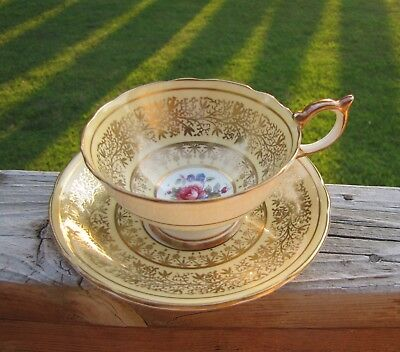 Aynsley Tea Cup & Saucer Gold Hand Gilded Pale Yellow Pink Blue Rose Floral