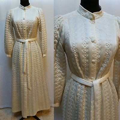 Vintage 60's MISS ELAINE Ivory Quilted Nylon Housecoat Dress Robe - USA Made -XS