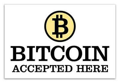 Bitcoin Accepted Here Business Sticker Crypto Currency Decal