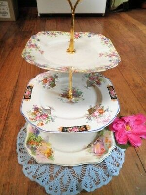 Vintage Cake Stand 3 Tier Jg Meakin June Crinoline Lady Crown China England Mix