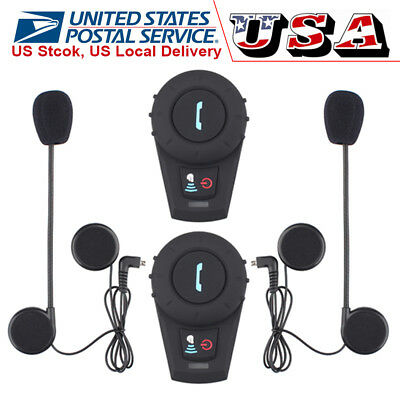 2Pcs Motorbike Intercom Helmet Headset Bluetooth Motorcycle Interphone 500M+FM