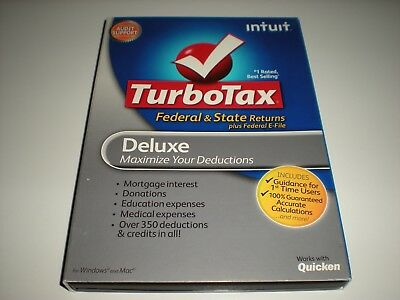 Turbotax 2011 Deluxe with state. New sealed retail box but slip cover is missing