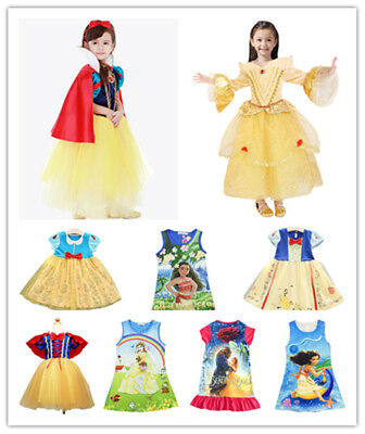 Kids Girl Cosplay Costume Snow White Belle Moana Princess Dress Party Gown Lot