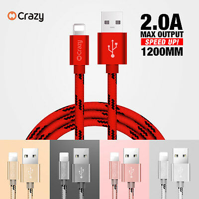 CRAZY USB cable for Apple iPhone 7 8 6 Plus X XR XS MAX Data Charger cord 1.2M