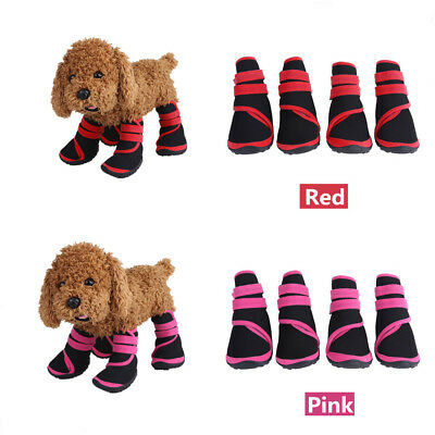 4PCS Pet Dog Puppy Anti Slip Protective Rain Boots Booties Waterproof Shoes S-L
