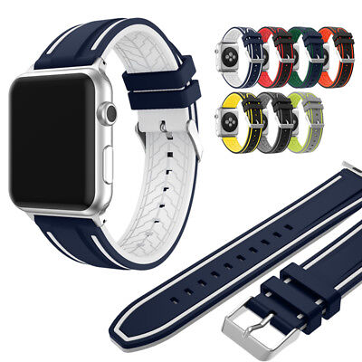 Silicone Sport Strap Deployment Wrist Band for Apple Watch 42mm Series 1 2 3