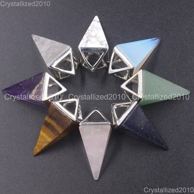 Natural Gemstones Amethyst Crystal Pyramid Pointed Reiki Chakra Silver Pendant