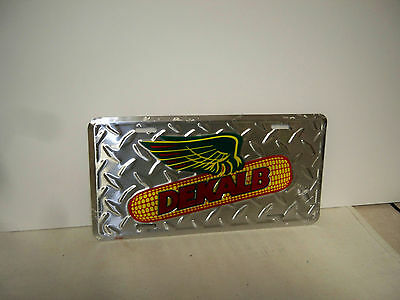 Dekalb Seed Corn License Plate - Silver Tire Tread Design /Winged Ear