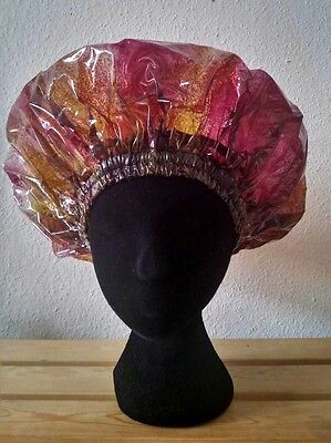 Limited Handmade Unisex Red, Yellow and Black Multi-Coloured Shower Cap