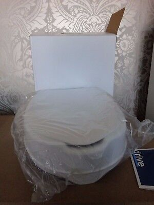 "Drive Medical White 4"" Raised Toilet Seat With Lid Boxed NEW"
