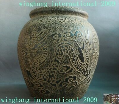 Chinese old jade Hand-carved Dragon Phoenix ancient Text Storage pot Tanks Crock