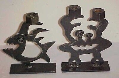 Pair Of Brutalist Steel Sculpture  Crab And Angelfish Signed From Nyc Metro Area