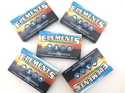 5x Packs ( Elements 300 1 1/4 1.25 ) Ultra Thin Rice Rolling Papers Paper