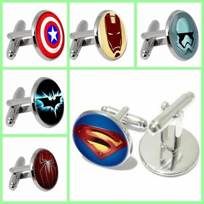 Superhero Vintage Men's Cufflinks Shirt Wedding Groom Gift Jewelry Cuff Links