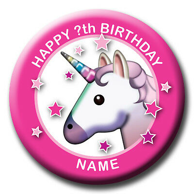 Personalised Unicorn Birthday Badges / Fridge Magnet / Mirror Gift