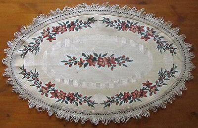 Fabric Table Mat Oval Shape Yellow Floral Pattern + 6 Placemats Set