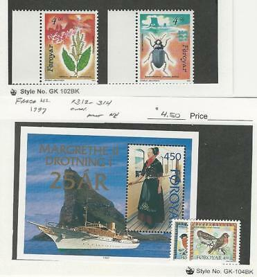 Faroe Islands, Postage Stamp, #217-8, 312-4 Mint NH, 1991-7 Bird, Ship, Insect
