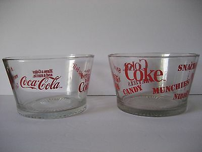 Lot of 2 Coke Coca-Cola Candy Snack Glass Bowl 2.3 lbs each