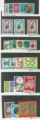 Ghana, Postage Stamp, #406-9 LH, 418-20, 440-4, 499-502, 530-2, Mint NH, 1970-4