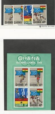 Ghana, Postage Stamp, #340-343a Set & Sheet Mint NH, 1968 Football, Soccer