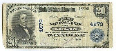 Very Rare, First National Bank of Logan, UT (Ch #4670) Series 1902, $20 Note