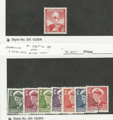 Greenland, Postage Stamp, #5 Mint NH, 28//34 (7 Diff) Used, 1938-60