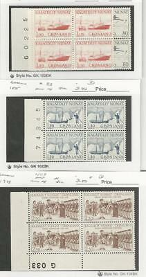 Greenland, Postage Stamp, #80, 82, 83, 109 Blocks Mint NH, 1975-78 Ships