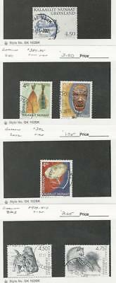 Greenland, Postage Stamp, #381, 384-385, 392, 409-410 Used, 2001-03
