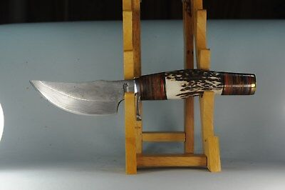 """Marbles #Mr814D 9 1/4"""" Damascus Skinner Fixed Blade Stag & Brown Stacked Leathe"""